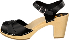 Swedish Hasbeens - Peep Toe Super High Black/Nature Sole