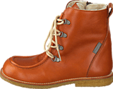 Angulus - TEX-boot w. zipper and laces Cognac/Cognac